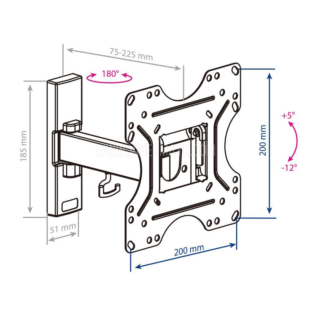 Настенный кронштейн для LED/LCD телевизоров KROMAX OPTIMA-213 BLACK