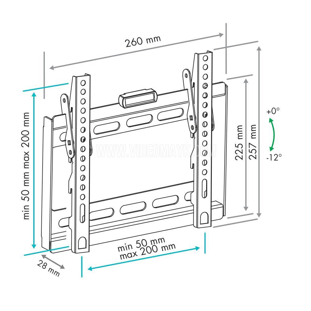 Настенный кронштейн для LED/LCD телевизоров VLK TRENTO-36 BLACK