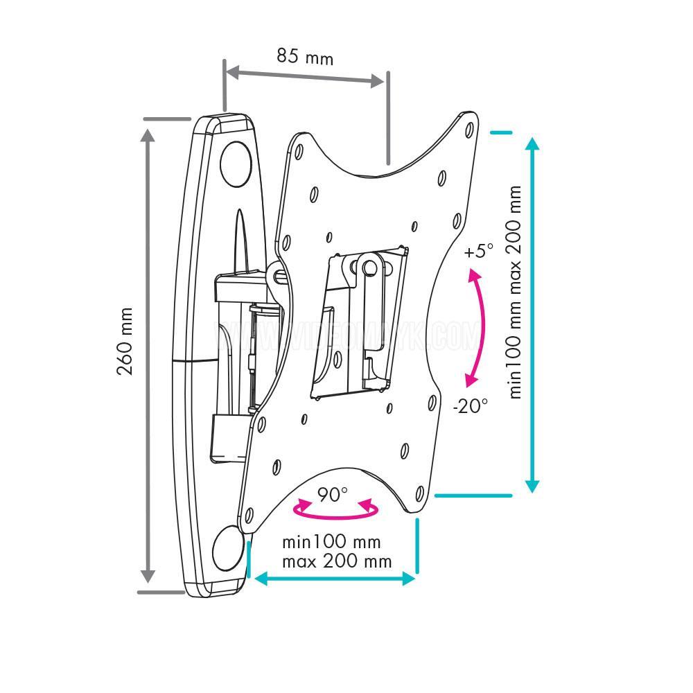 Настенный кронштейн для LED/LCD телевизоров VLK TRENTO-4 BLACK
