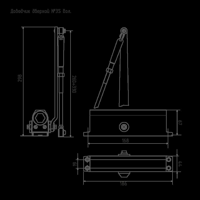 НОРА-М Доводчик №3S (от 50 до 80 кг) (серебро) морозостойкий
