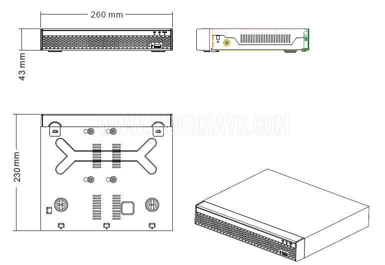 NVR3604DP IP-видеорегистатор 9-ти канальный Longse™ разрешением до 5Мп, с втроенными 4 х PoE портами