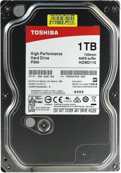 Жесткий диск Toshiba P300 1 Тб HDWD110UZSVA SATA