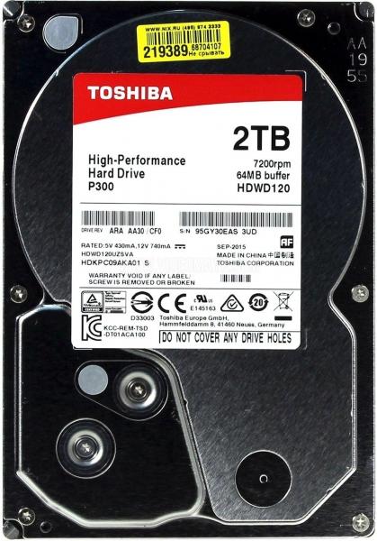 Жесткий диск Toshiba P300 2 Тб HDWD120UZSVA SATA